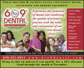 Ad for 6 to 9 Dental