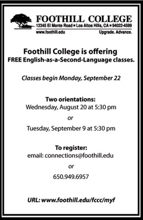 Foothill offers English as a Second Language classes