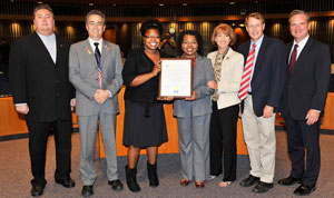 Henrietta J. Burroughs receives proclamation from Santa Clara County Supervisors