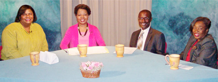 Photo of participants in the Talking with Henrietta show on a global blood disease