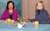 Photo shows Henrietta J. Burroughs and Mary McMillan on tv show on the sequester